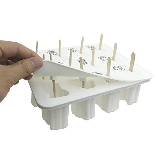 Queta 12 Eisformen Silikon Wassereis Form mit 50 Holzstielen BPA Frei Popsicle Formen DIY Tierform EIS Pops Formen (Weiß)