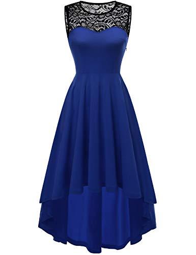 YOYAKER Damen Vintage Rockabilly Kleid Rundhals Ärmellos Cocktailkleid Elegant Spitzenkleid Vokuhila Festliche Party Abendkleider Royal Blue XS