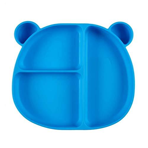 Bandeja Bebe Plato de Silicona con Ventosa Vajilla Antideslizante Bebe para Bebé Niños Plato Antideslizante (Azul)
