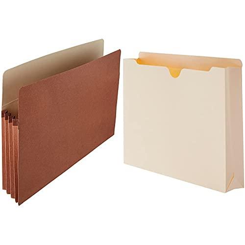 Amazon Basics Expanding Accordian Organizer File Folders - Letter Size, 25-Pack & File Folders Jacket, Reinforced Straight-Cut Tab, 2 Inch Expansion, Letter Size, Manila, 50-Pack - AMZ601