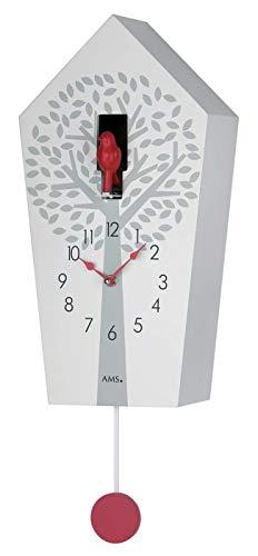 AMS Quarz-Pendeluhr, Holz, Weiß, 73 x 31 x 18 cm