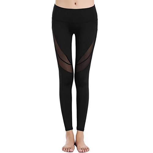 DHTOMC Polainas de entrenamiento para mujer, mallas de malla, cintura alta, pantalones elásticos, pantalones de yoga, capris