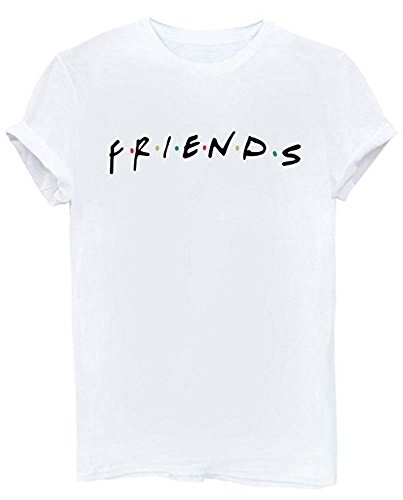 Dutoz Womens Friends TV Show T Shirts Summer Casual Short Sleeve Graphic Shirt Tees (White M)