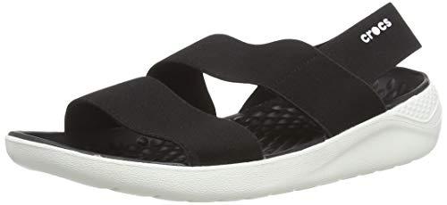 Crocs Literide Stretch Sandal Women, Punta Aperta Donna, Nero (Black/White 066), 39/40 EU