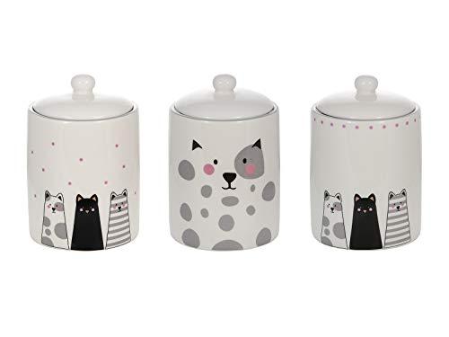 SPOTTED DOG GIFT COMPANY Keramik Vorratsdosen mit Deckel, 3er Set mit Küchen Aufbewahrungsdosen für Tee, Kaffee, Zucker, Katze Deko Geschenk für Katzenliebhaber