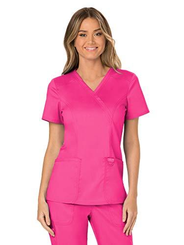 Workwear Revolution Women Scrubs Top Mock Wrap Plus Size WW610, 3XL, Electric Pink