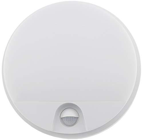 LED Wandleuchte mit Bewegungsmelder IP54 Innen/Aussen 15W 1100Lumen 140° Sensor 9m Reichweite 230V Weiß 4000K Rund Ø21x5cm