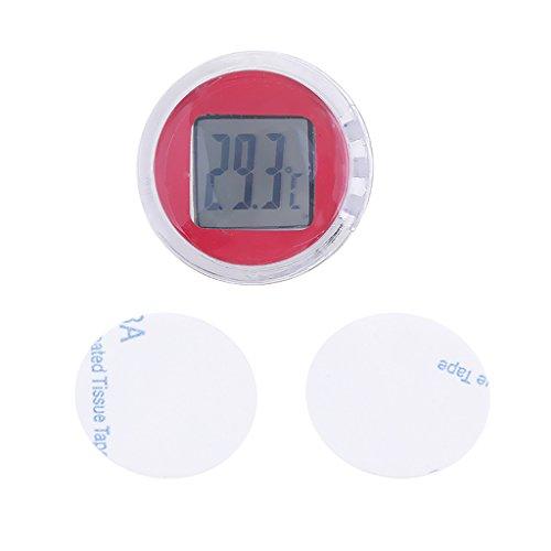 FLAMEER Motorrad Fahrrad Temperatur Messgerät Mini Digital Thermometer - rot