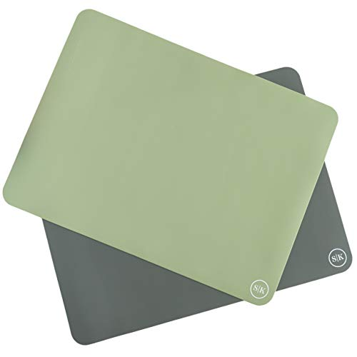 The Silicone Kitchen Silicone Oven Baking Mats - Set of Two | Non-Stick | Non-Slip | BPA Free | Extra Thick | Half Sheet (16'x11.75') - Green/Gray