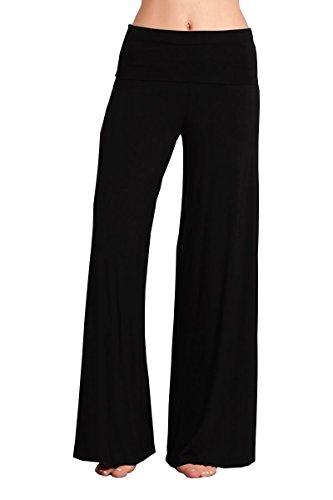 HEYHUN Plus Size Womens Tie Dye Solid Wide Leg Bottom Boho Hippie Lounge Palazzo Pants - Black - 3XL