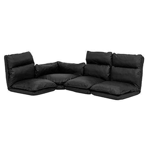モダンデコソファソファーセット3人掛けローソファー座椅子フロアソファーレザー(PVCブラック)