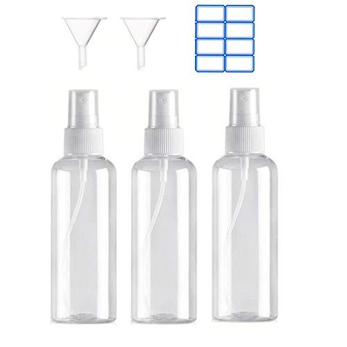 Iindes 3PCS Bote Spray Botella de Aerosol Vacío Plástico Transparente Niebla Fina Atomizador de Viaje Conjunto de Botellas 100 ML