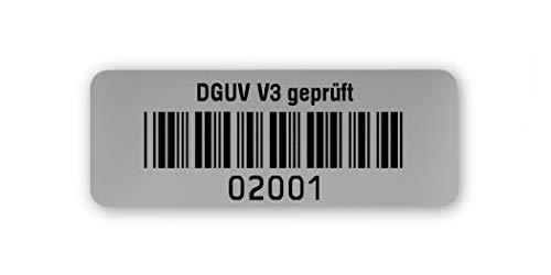Prüfetiketten DGUV V3 geprüft, 40x15mm, silberoptik matt, fertig bedruckt mit 5-stelligem fortlaufendem Barcode 39 ohne Prüfziffer für alle gängigen Prüfgeräte. Nummernkreis 02 001.03 000