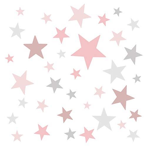 Little Deco Wandaufkleber 60 Sterne Kinderzimmer Mädchen Stars I rosa grau I Wandtattoo Schlafzimmer Wandsticker Set bunt selbstklebend DL404
