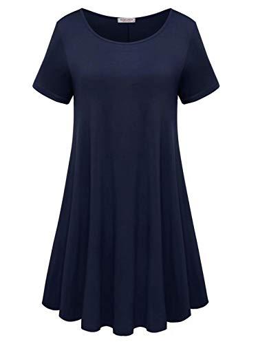 BELAROI Womens Comfy Swing Tunic Short Sleeve Solid T-Shirt Dress (2X, Navy Blue)