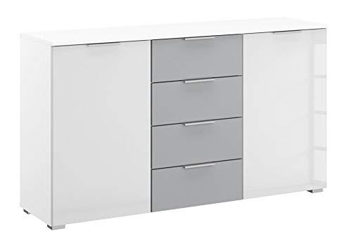 Rauch AD173.675F Kombi-Kommode Bellezza/B 140 H 81 T 42 cm in Weiss und Seidengrau