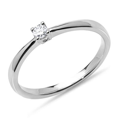 Verlobungsring 0,1 ct. Diamant Weißgold VR0131