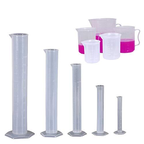 luosh Cilindros graduados de plástico de 5 Piezas Cubetas de 5 Piezas Vasos de medición Contenedor de líquido de Laboratorio