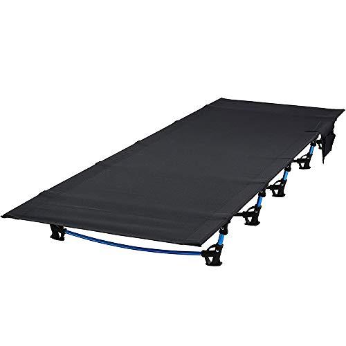 ロベンズナオミ キャンプコット アウトドア 折り畳みベッド 軽量 コンパクト 簡易ベッド サイドポケット付 ローコット(190×70×17cm) (ブラック)