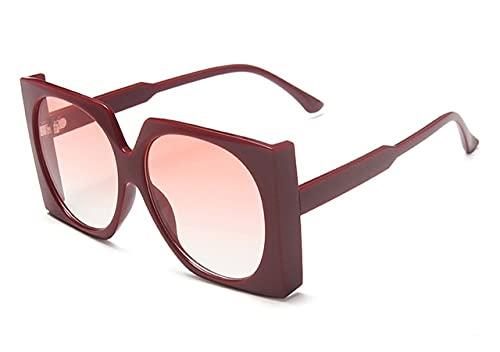 MIMITU Gafas de sol cuadradas retro para mujer, gafas de moda de gran tamaño, gafas de lujo, gafas de sol de gran tamaño, mujer, rojo rosa
