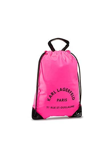 KARL LAGERFELD Sac à dos plat RUE ST-GUILLAUME, Primavera 2020, 48 x 35 x 0,5 cm - Rose - Neon Pink, Taille unique EU