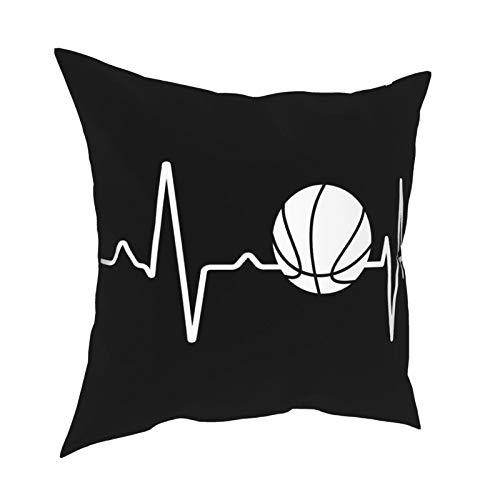 Heartbeat - Fundas de almohada de baloncesto en blanco y negro, 45,7 x 45,7 cm - Impresión de doble cara, fundas de almohada decorativas cuadradas para sofá, cama, coche