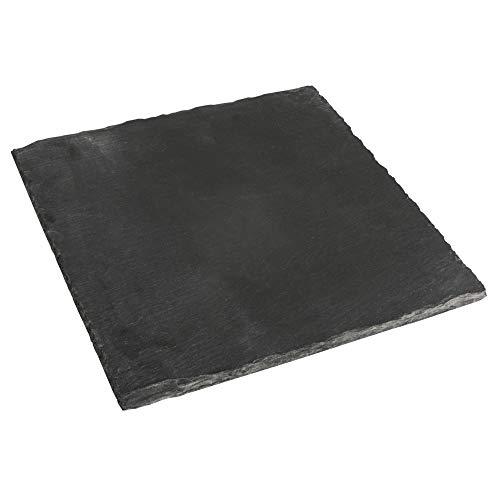 Rayher 46404000 Quadratische Schieferplatte, zum Beschriften und Basteln, Naturstein Platte für Kerzen und festliche Tischdekoration, 20x20 cm