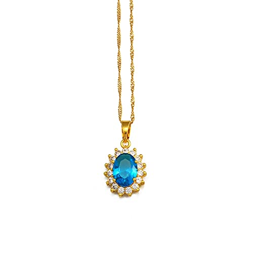 Collares con colgante de piedras de colores rojo / verde / púrpura, joyería de Color dorado para mujeres y niñas, regalos de Oriente Medio, árabes africanos