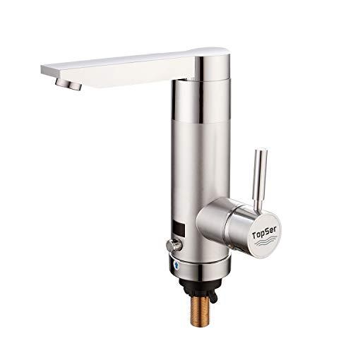 Eléctrico Grifos de Cocina-TopSer KA-06 Potencia Ajustable Grifo de Agua Caliente Instantanea,120°Girar Caliente y Fría Calefacción Grifo con Pantalla de temperatura para Cocina,Baño,Lavadero