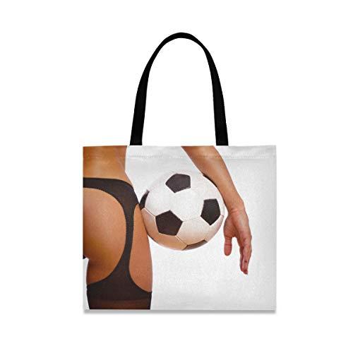 XiangHeFu Chica sexy de moda reutilizable con balón de fútbol Bolso de fútbol Bolso de mano casual escolar de gran capacidad