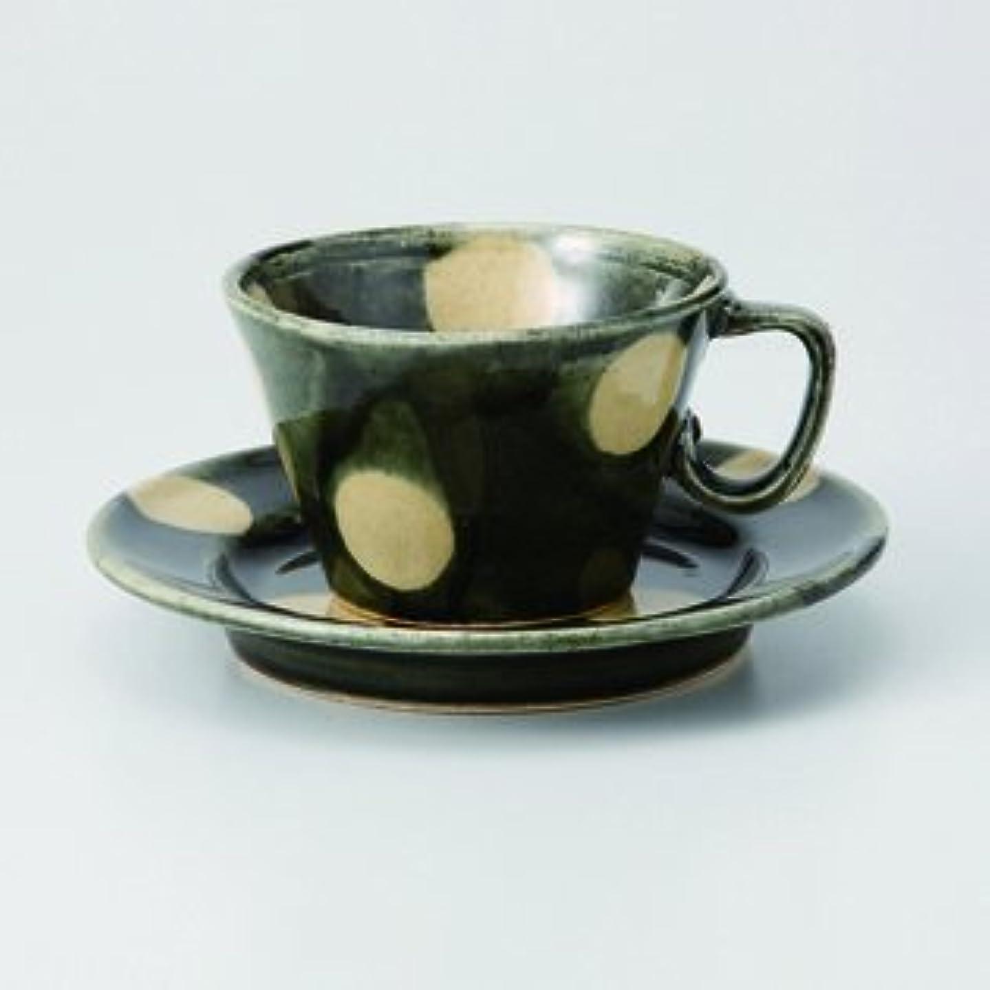 Japanese porcelain Hasami ware. green glaze dott cup and saucer. hsm-J28-73618