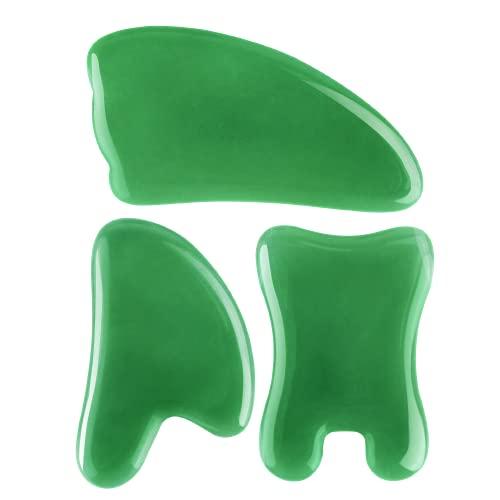 Gua Sha Massage Tool,100% Natural Jade Stone 3-in-1 Set,Facial and Full Body Scraping Tool
