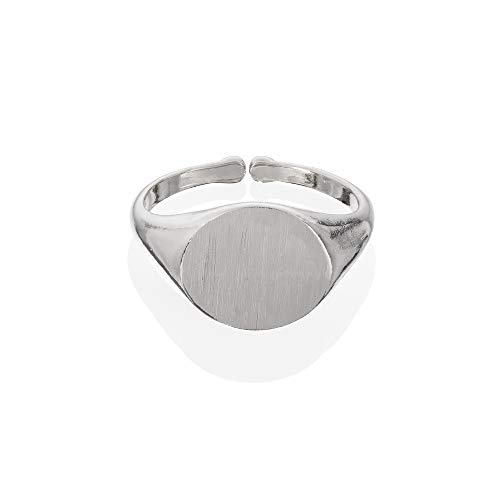 namana Adjustable Silver Signet Ring for Women, Brushed Finish Silver Round Signet Rings for Women and Teen Girls, Unusual Open Signet Rings for Women with Brushed Finish, Cute Signet Ring for Women