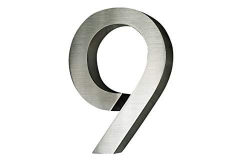 3D Hausnummer 9 Edelstahl ITC Bauhaus Design rostfrei witterungsbeständig 3D Effekt 20cm Höhe und...
