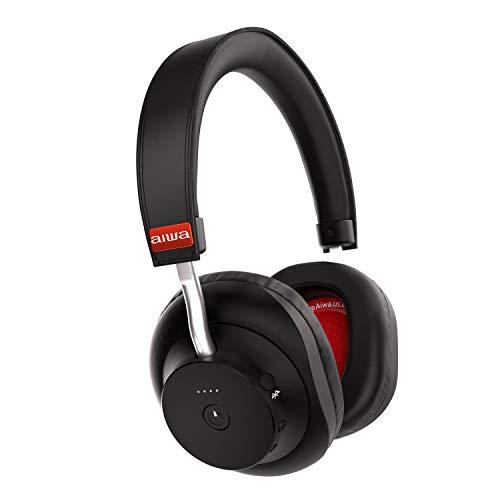Aiwa Arc-1 Bluetooth Kopfhörer, Over Ear, Kabellose Ohrhörer, Extremer So&, 20 St&en Spielzeit, Inklusive Reisetasche - Schwarz