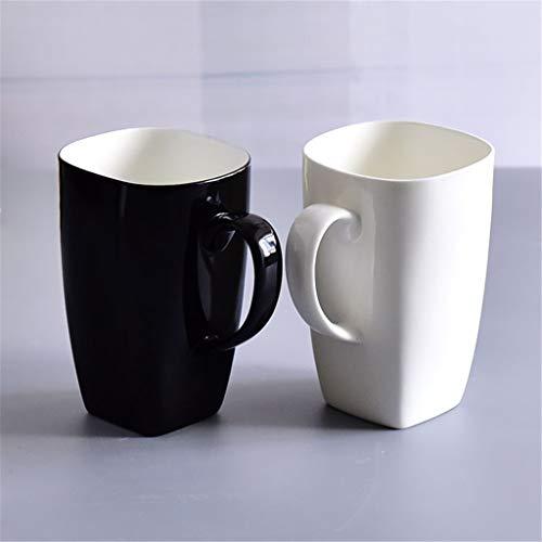 Cups elegant_RG Grande capacité café thé Tasse en céramique gobelets carrés Bureau Noir et Blanc Paire de Tasse d'amoureux Ensemble de 2