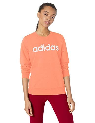 adidas Essentials Damen Linear Crewneck Sweatshirt Semi Coral/White, Medium