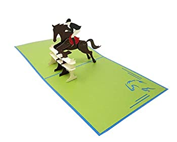 WOWPAPERART Horse Jumping Equestrian - 3D Pop Up Greeting Card for All Occasions - Birthday Love Congrats Good Luck Sports Retirement Christmas Congrats - Gifts for Family Friends Lovers