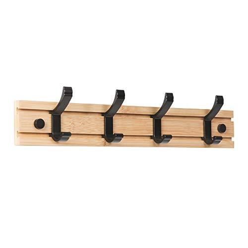 JSVER Garderobenhaken Wand, Moderne Garderobenleiste Holz Kleiderhaken Bambus Wandgaderobe Hakenleiste mit 4 Beweglichen Haken für Jacken, Mäntel, Schals, Handtaschen und Mehr, Natur