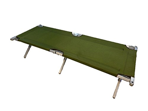 Genuine Issue US Army Military G.I. Folding Cot Olive Drab with Aluminum Frame
