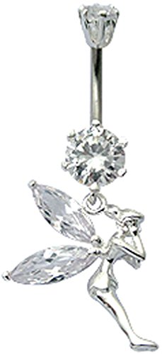 Shalalla London Silver Belly Button Ring Tinker Bell Design with CZ Clear Crystal - Packed in a Lovely Velvet Pouch