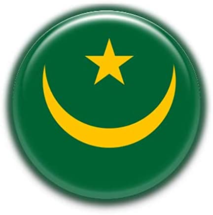Mauritania : Bandera Nacional, Pinback Button Badge 1.50 Inch (38mm)
