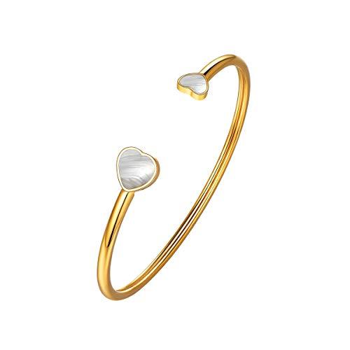 FOCALOOK Damen Armband einfach Herz offener Armreif mit Muschel eingelegt Gold überzogen Minimalist verstellbar Armspange Armschmuck tollest Geschenk für Mädchen