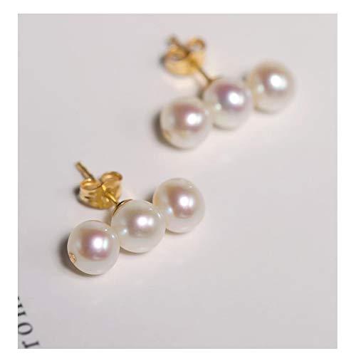 ZPEE Pendientes Pendientes de Cuentas Redondas de Perlas de Agua Dulce Brillante de 5-6mm para Novia 14k Pendientes de Oro Diseño Pendientes Colgantes y Colgantes para Mujer