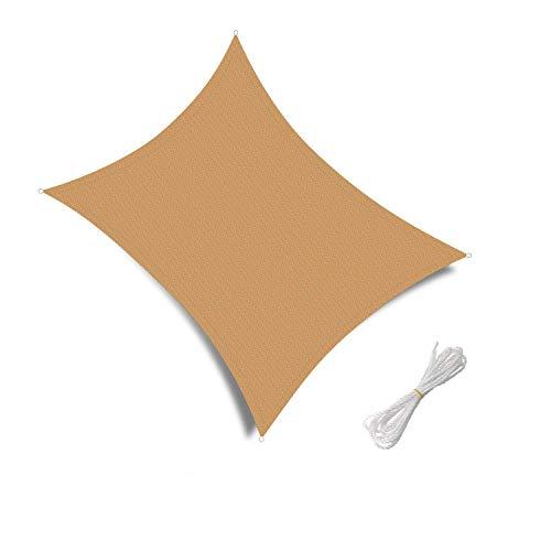 Patio Shack Toldo Vela de Sombra Rectangular 3x5m, HDPE Transpirable y protección Rayos UV para Exterior, Jardin, terrazas, Arena
