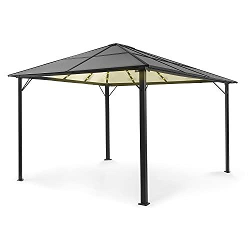 blumfeldt Pantheon Solid Sky Ambient Solar Pavillon, Aluminiumkantrohr, 7,6 x 7,6 cm Eckpfosten mit 1,2 mm Materialdicke, Dach: 6mm Polycarbonat-Doppelstegplatten, Fläche: 3 x 4 m, getöntes Dach