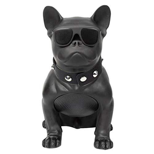 SWYWY French Bulldog Portable Dog Speaker, FM Radio, MP3 (M, Black)