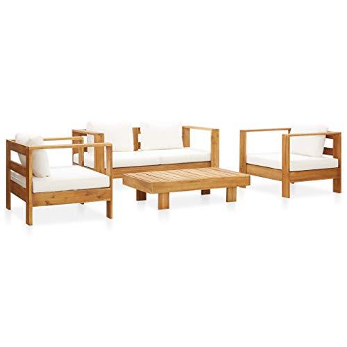 FAMIROSA Muebles de jardín 4 pzas con Cojines Madera Maciza Acacia Crema
