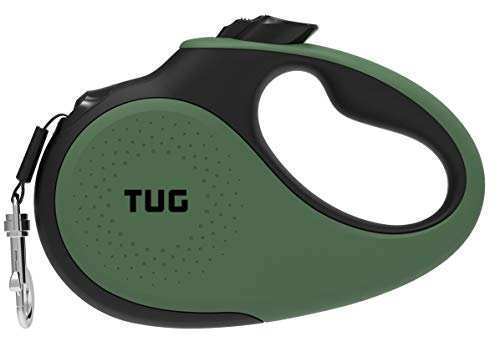 TUG 360° Tangle-Free, Heavy Duty Retractable Dog Leash for Up to 33 lb Dogs; 16 ft Strong Nylon Tape/Ribbon; One-Handed Brake, Pause, Lock (Small, Green)