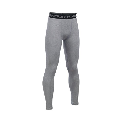 Under Armour Men's ColdGear Armour Leggings, True Gray Heather (025)/Reflective, Youth X-Small